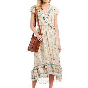 Chelsea & Violet Floral Wrap Midi Dress Sz Medium